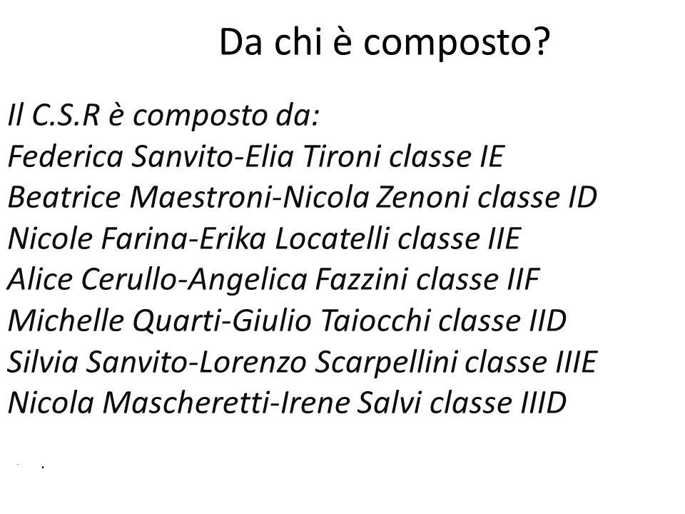 Da chi è composto? Il C.S.R è composto da: Federica Sanvito-Elia Tironi classe IE Beatrice Maestroni-Nicola Zenoni classe ID Nicole Farina-Erika Locat