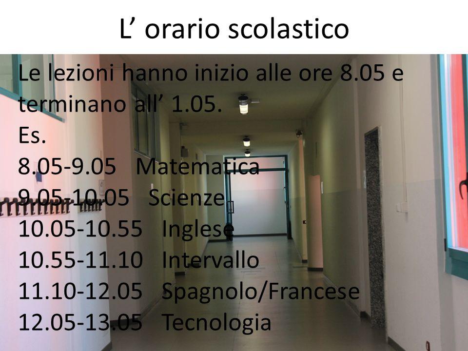 L orario scolastico Le lezioni hanno inizio alle ore 8.05 e terminano all 1.05. Es. 8.05-9.05 Matematica 9.05-10.05 Scienze 10.05-10.55 Inglese 10.55-