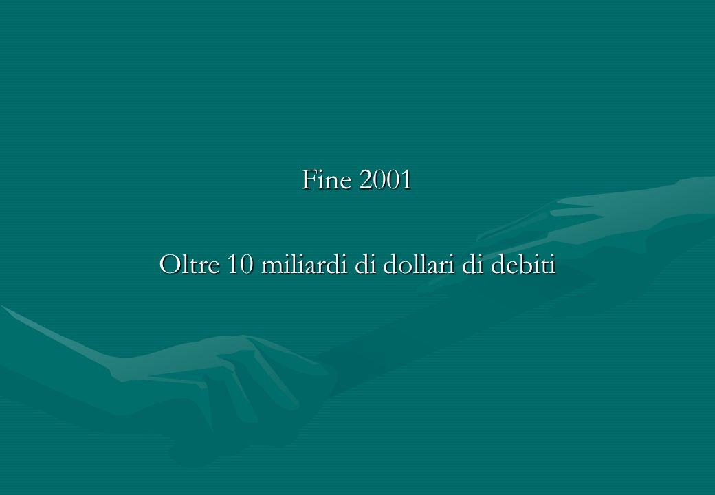 Fine 2001 Oltre 10 miliardi di dollari di debiti