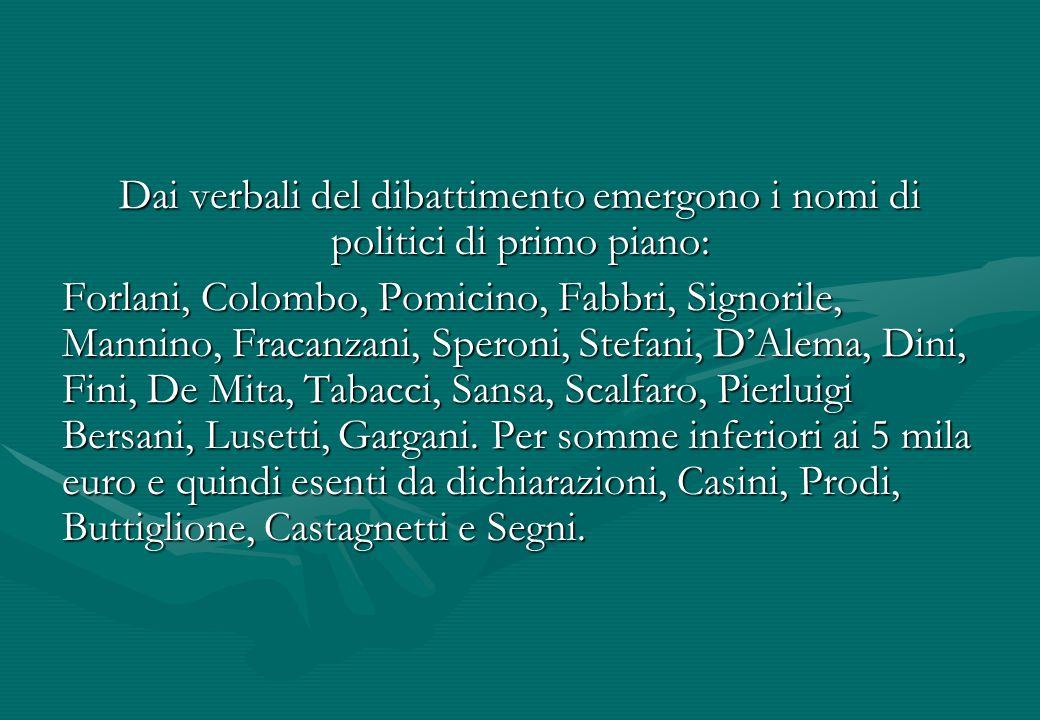 Dai verbali del dibattimento emergono i nomi di politici di primo piano: Forlani, Colombo, Pomicino, Fabbri, Signorile, Mannino, Fracanzani, Speroni,