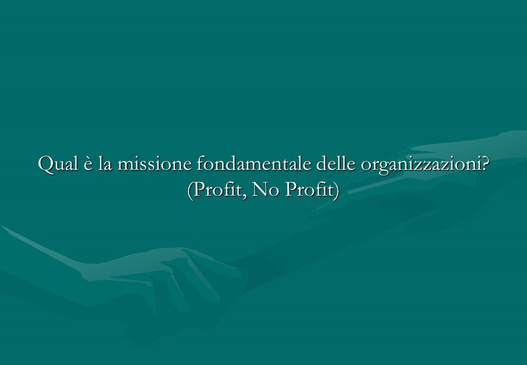 Qual è la missione fondamentale delle organizzazioni? (Profit, No Profit)