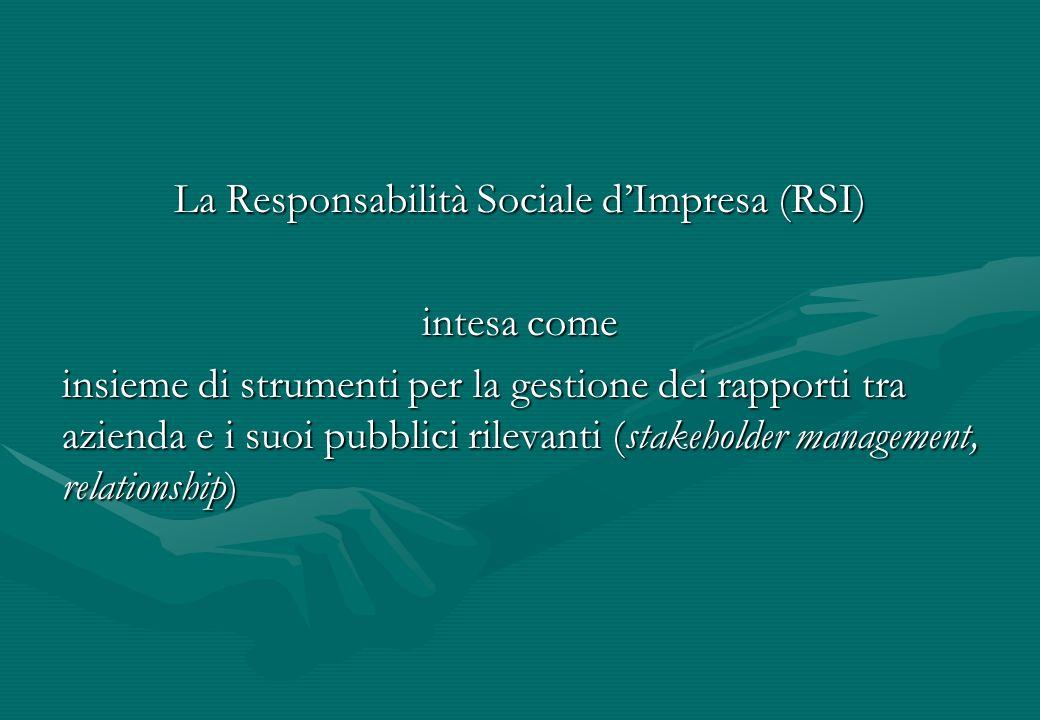 La Responsabilità Sociale dImpresa (RSI) intesa come insieme di strumenti per la gestione dei rapporti tra azienda e i suoi pubblici rilevanti (stakeh