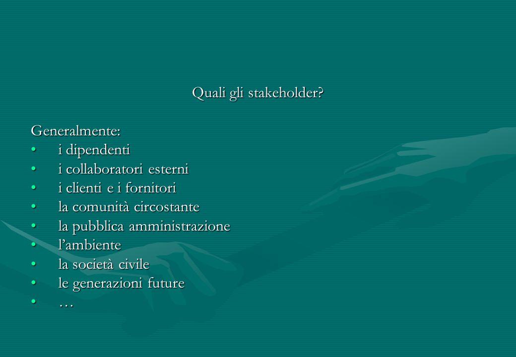 Quali gli stakeholder? Generalmente: i dipendentii dipendenti i collaboratori esternii collaboratori esterni i clienti e i fornitorii clienti e i forn