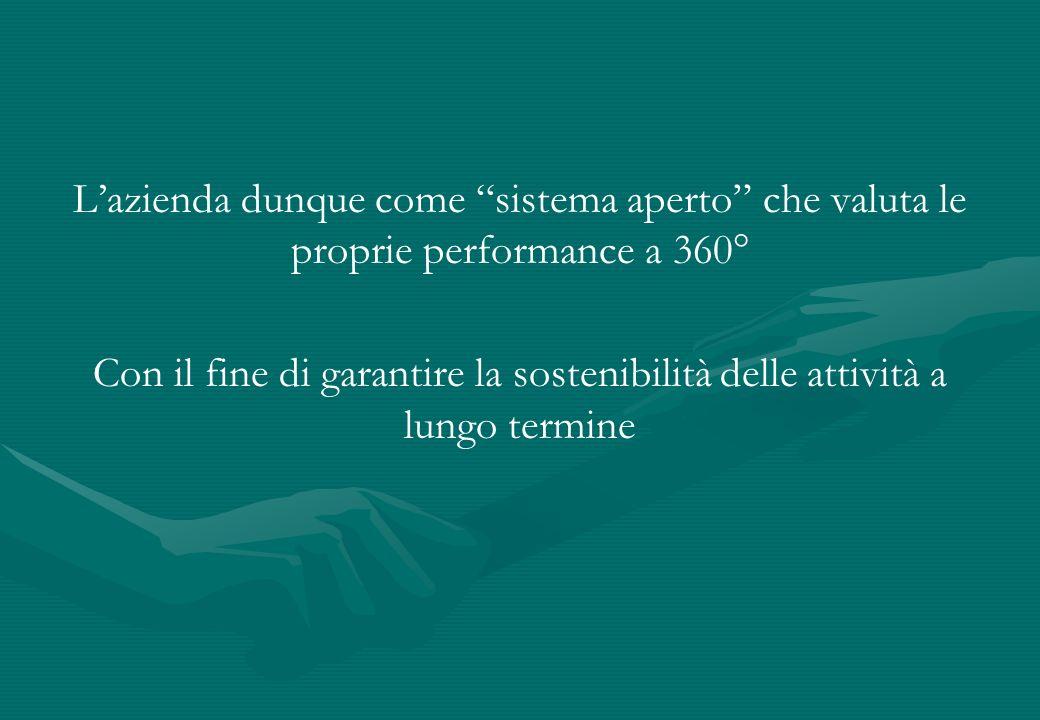 Lazienda dunque come sistema aperto che valuta le proprie performance a 360° Con il fine di garantire la sostenibilità delle attività a lungo termine