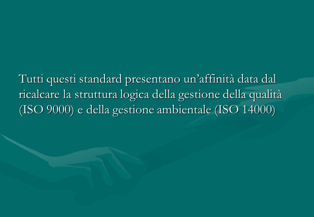 Tutti questi standard presentano unaffinità data dal ricalcare la struttura logica della gestione della qualità (ISO 9000) e della gestione ambientale