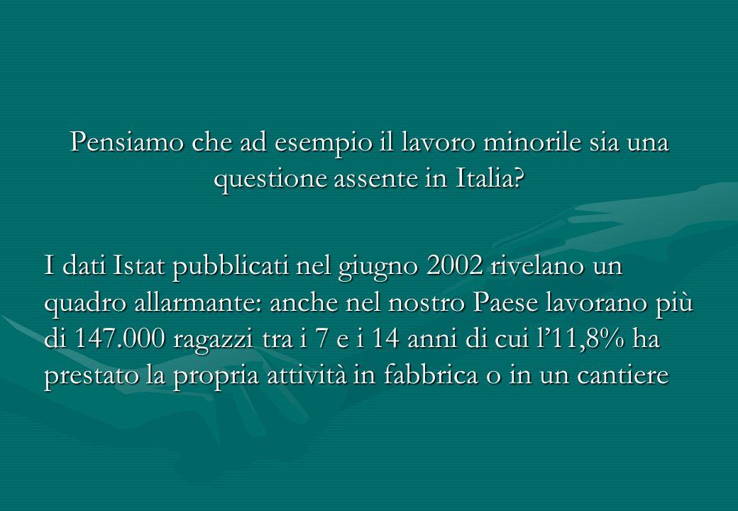 Pensiamo che ad esempio il lavoro minorile sia una questione assente in Italia? I dati Istat pubblicati nel giugno 2002 rivelano un quadro allarmante: