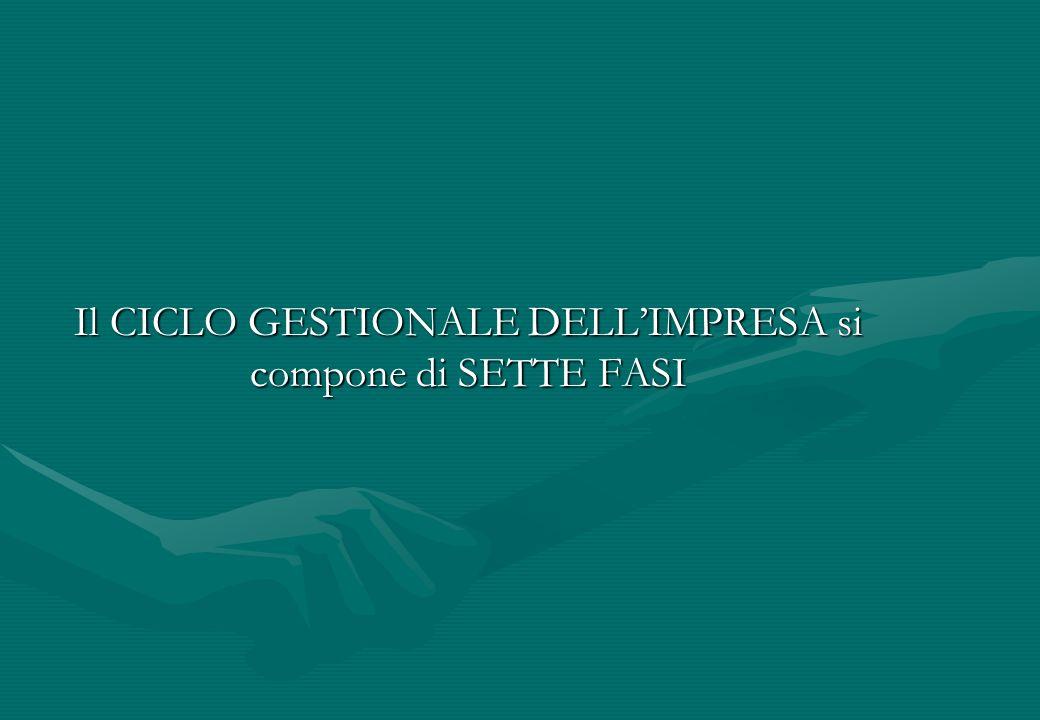 Il CICLO GESTIONALE DELLIMPRESA si compone di SETTE FASI
