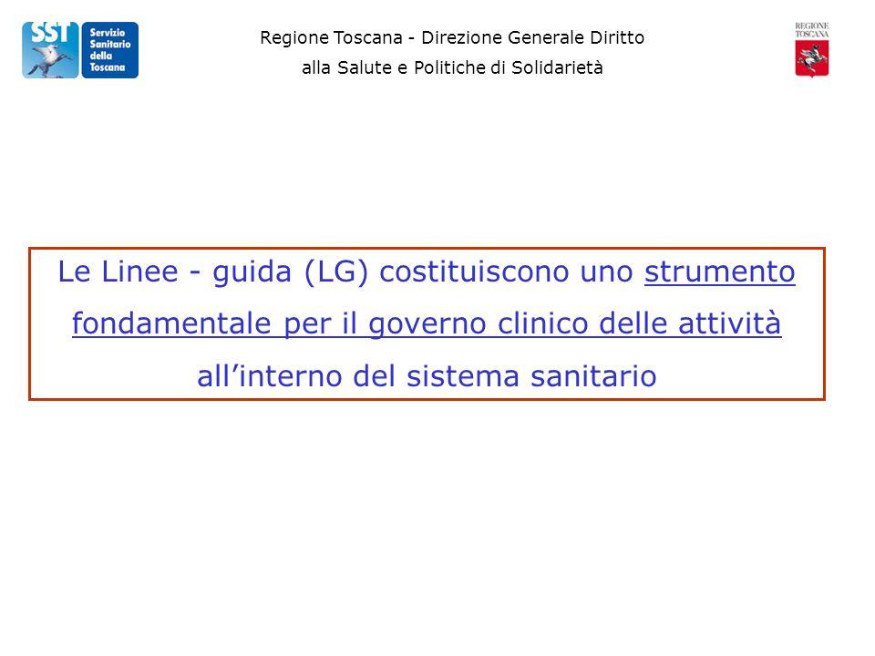 Regione Toscana - Direzione Generale Diritto alla Salute e Politiche di Solidarietà Le Linee - guida (LG) costituiscono uno strumento fondamentale per il governo clinico delle attività allinterno del sistema sanitario