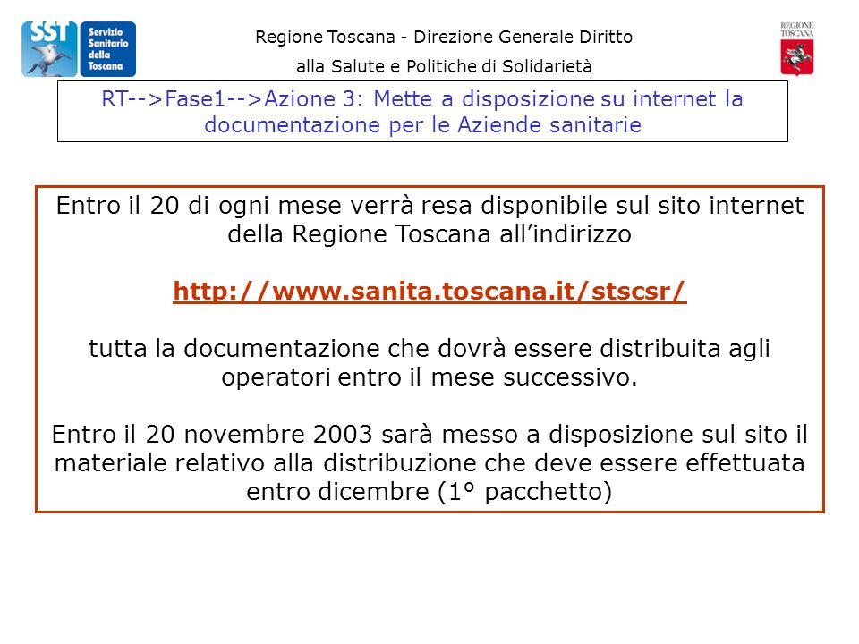 Regione Toscana - Direzione Generale Diritto alla Salute e Politiche di Solidarietà Entro il 20 di ogni mese verrà resa disponibile sul sito internet