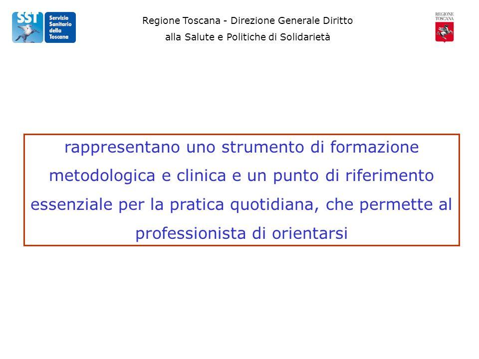 Regione Toscana - Direzione Generale Diritto alla Salute e Politiche di Solidarietà rappresentano uno strumento di formazione metodologica e clinica e un punto di riferimento essenziale per la pratica quotidiana, che permette al professionista di orientarsi