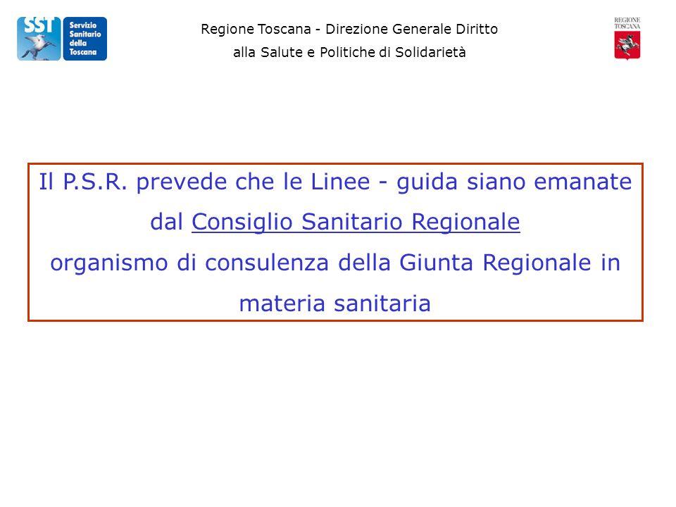 Regione Toscana - Direzione Generale Diritto alla Salute e Politiche di Solidarietà Il P.S.R. prevede che le Linee - guida siano emanate dal Consiglio