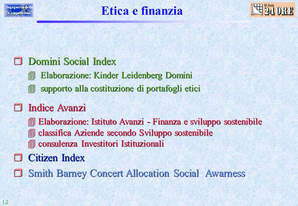 12 Ingegneria della Competizione Etica e finanzia r Domini Social Index 4 Elaborazione: Kinder Leidenberg Domini 4 supporto alla costituzione di porta