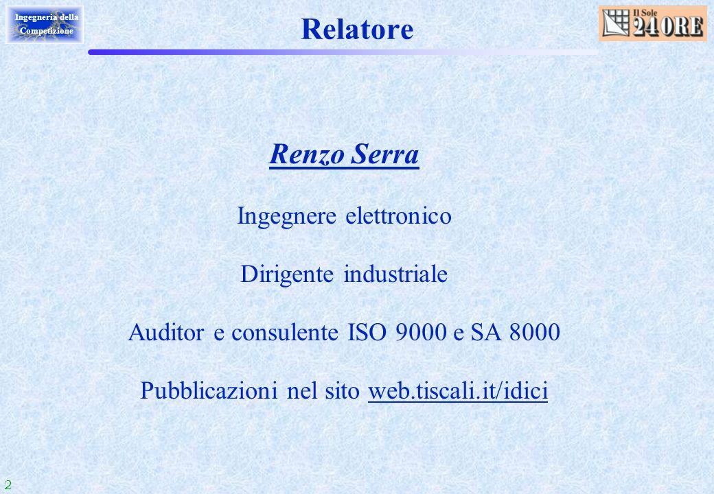2 Ingegneria della Competizione Relatore Renzo Serra Ingegnere elettronico Dirigente industriale Auditor e consulente ISO 9000 e SA 8000 Pubblicazioni