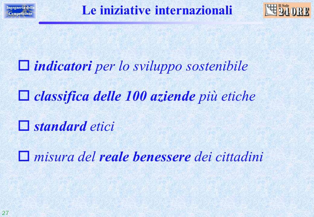 27 Ingegneria della Competizione Le iniziative internazionali o indicatori per lo sviluppo sostenibile o classifica delle 100 aziende più etiche o sta
