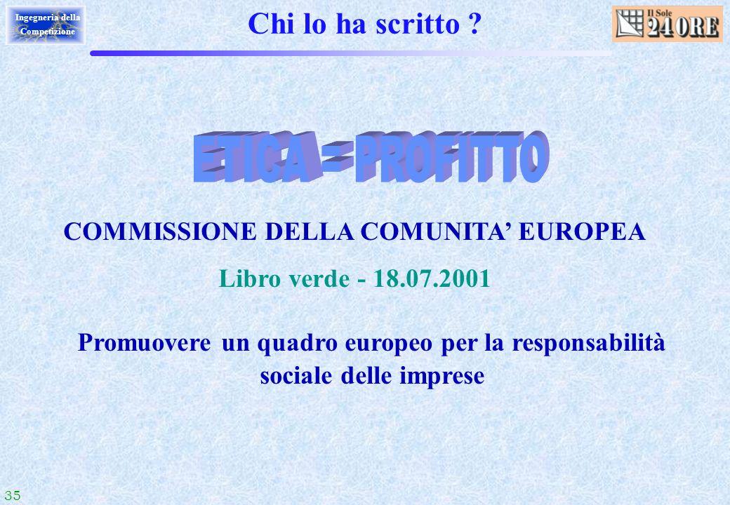 35 Ingegneria della Competizione Chi lo ha scritto ? COMMISSIONE DELLA COMUNITA EUROPEA Libro verde - 18.07.2001 Promuovere un quadro europeo per la r