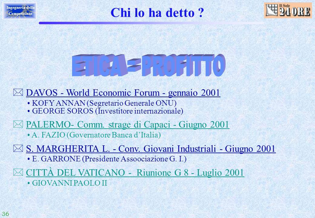 36 Ingegneria della Competizione Chi lo ha detto ? * DAVOS - World Economic Forum - gennaio 2001 KOFY ANNAN (Segretario Generale ONU) GEORGE SOROS (In