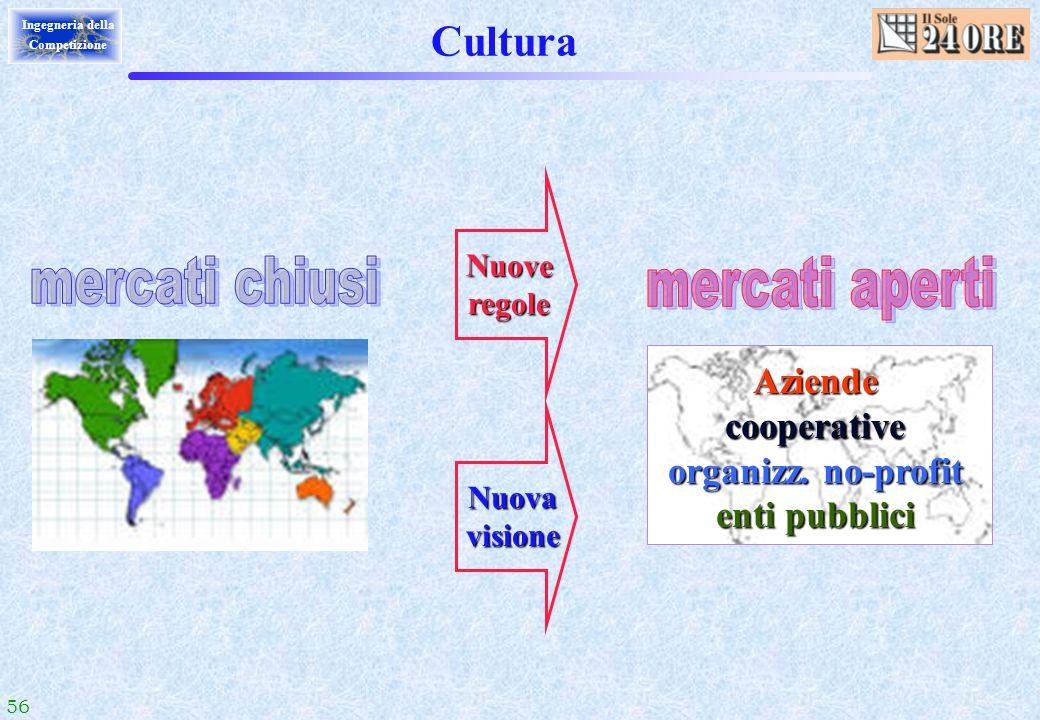 56 Ingegneria della Competizione Cultura Nuoveregole Nuovavisione Aziendecooperative organizz. no-profit enti pubblici