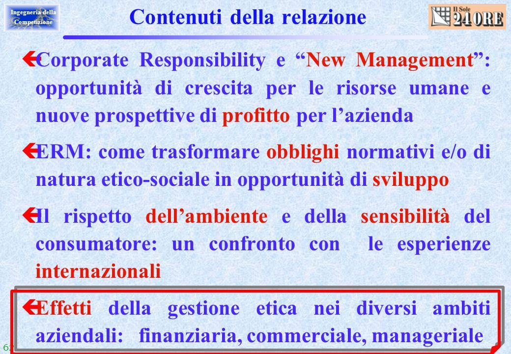 62 Ingegneria della Competizione Contenuti della relazione çCorporate Responsibility e New Management: opportunità di crescita per le risorse umane e