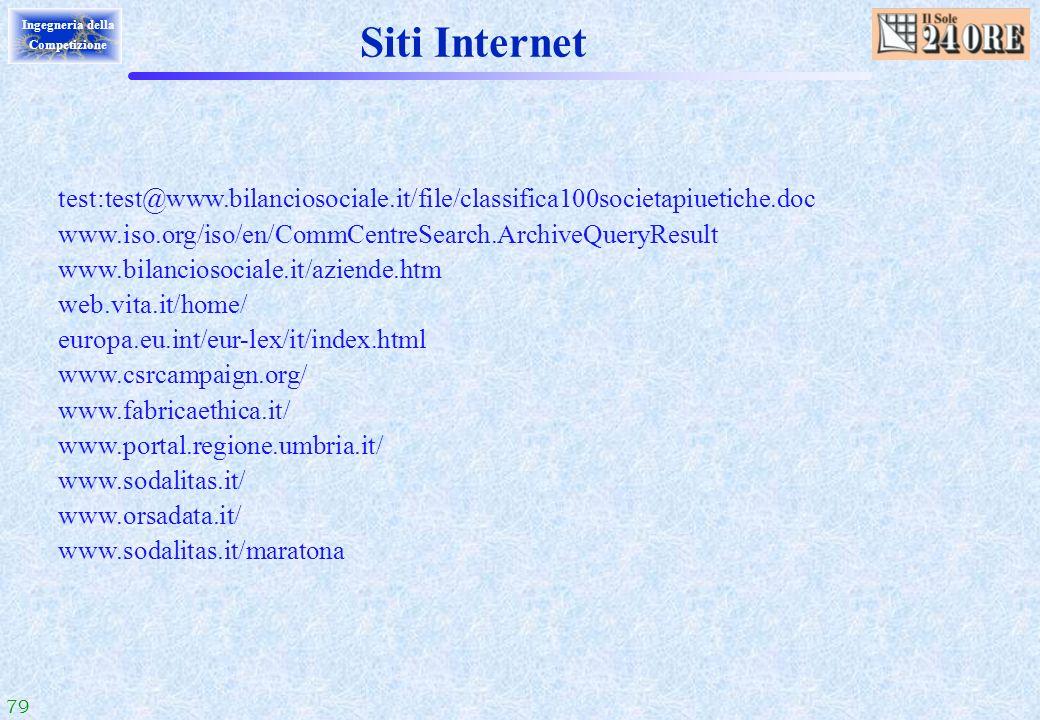 79 Ingegneria della Competizione Siti Internet test:test@www.bilanciosociale.it/file/classifica100societapiuetiche.doc www.iso.org/iso/en/CommCentreSe