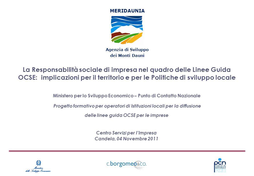 La Responsabilità sociale di impresa nel quadro delle Linee Guida OCSE: implicazioni per il territorio e per le Politiche di sviluppo locale Centro Se