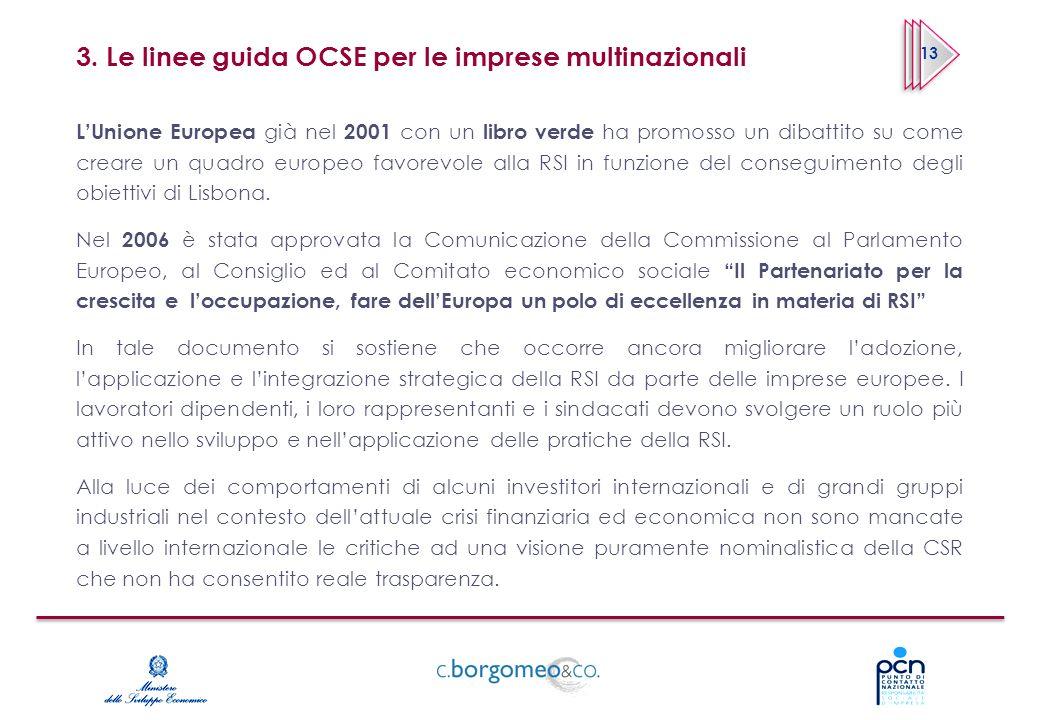 3. Le linee guida OCSE per le imprese multinazionali LUnione Europea già nel 2001 con un libro verde ha promosso un dibattito su come creare un quadro