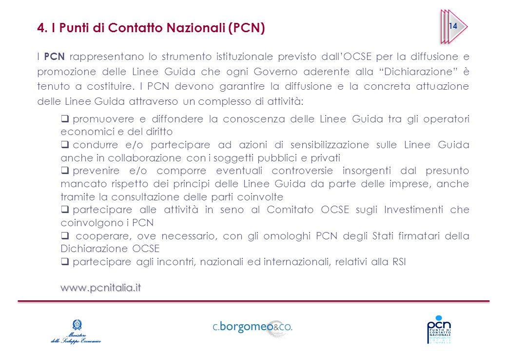 4. I Punti di Contatto Nazionali (PCN) I PCN rappresentano lo strumento istituzionale previsto dallOCSE per la diffusione e promozione delle Linee Gui