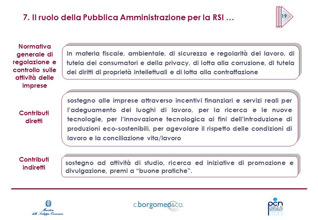 7. Il ruolo della Pubblica Amministrazione per la RSI … In materia fiscale, ambientale, di sicurezza e regolarità del lavoro, di tutela dei consumator
