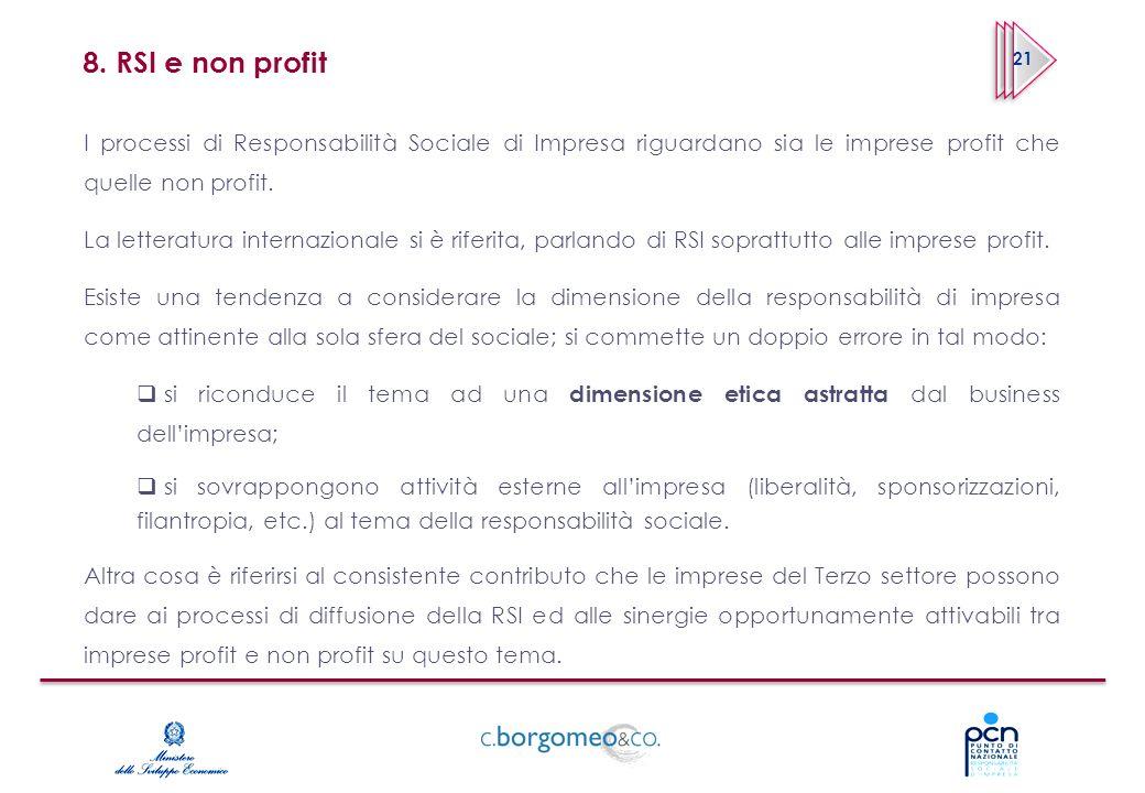 8. RSI e non profit I processi di Responsabilità Sociale di Impresa riguardano sia le imprese profit che quelle non profit. La letteratura internazion