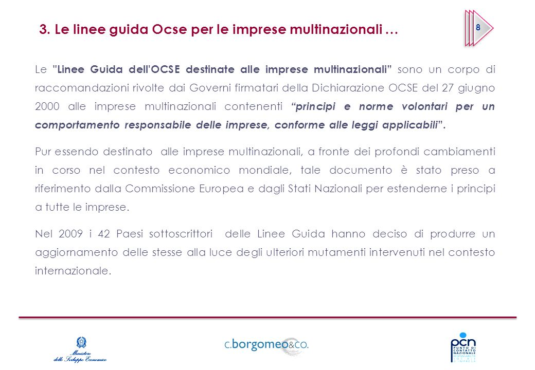 3. Le linee guida Ocse per le imprese multinazionali … Le