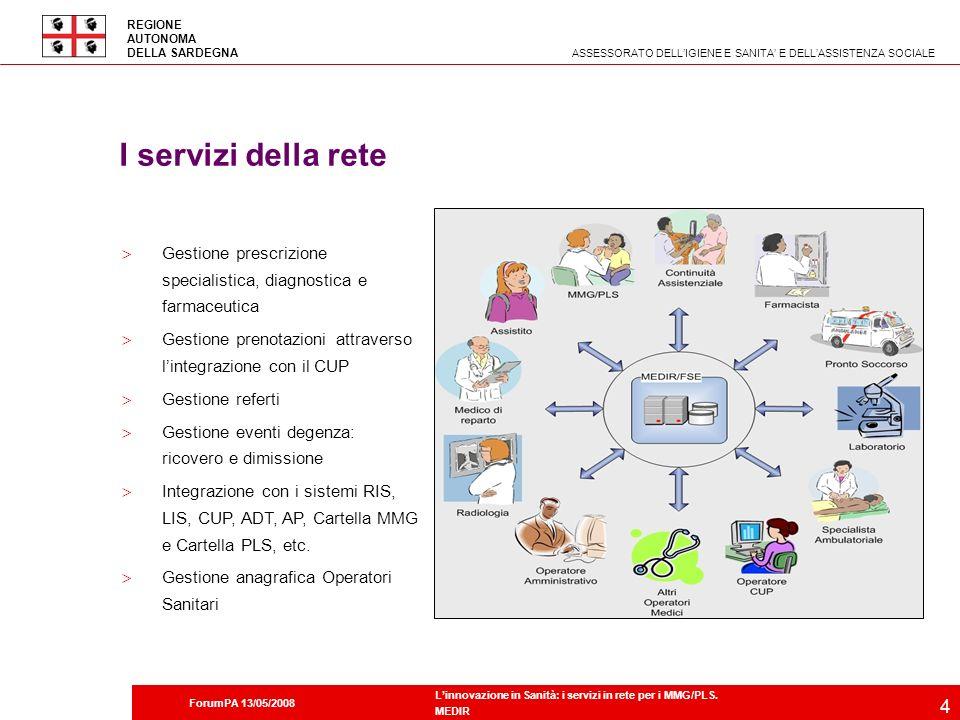 2 Società dellinformazione in Sardegna ASSESSORATO DELLIGIENE E SANITA E DELLASSISTENZA SOCIALE REGIONE AUTONOMA DELLA SARDEGNA ForumPA 13/05/2008 Linnovazione in Sanità: i servizi in rete per i MMG/PLS.