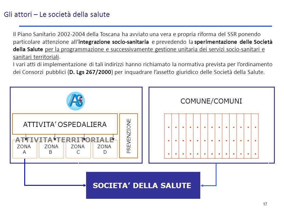 17 Il Piano Sanitario 2002-2004 della Toscana ha avviato una vera e propria riforma del SSR ponendo particolare attenzione allintegrazione socio-sanit