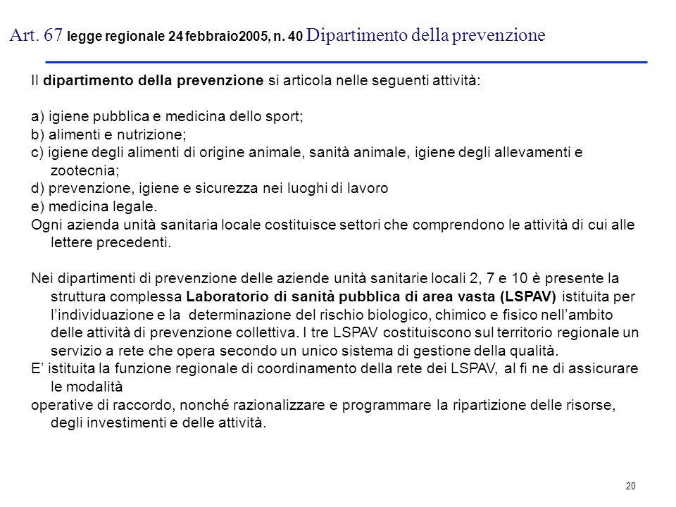 20 Art. 67 legge regionale 24 febbraio2005, n. 40 Dipartimento della prevenzione Il dipartimento della prevenzione si articola nelle seguenti attività
