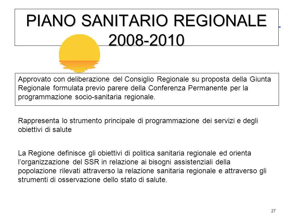 27 PIANO SANITARIO REGIONALE 2008-2010 Approvato con deliberazione del Consiglio Regionale su proposta della Giunta Regionale formulata previo parere