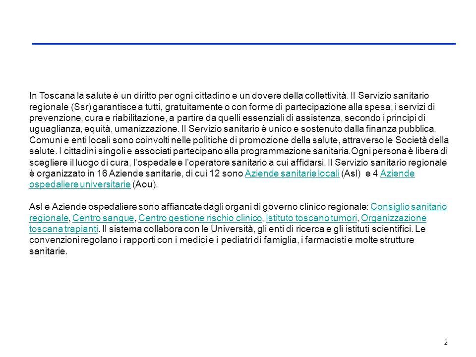 2 In Toscana la salute è un diritto per ogni cittadino e un dovere della collettività. Il Servizio sanitario regionale (Ssr) garantisce a tutti, gratu