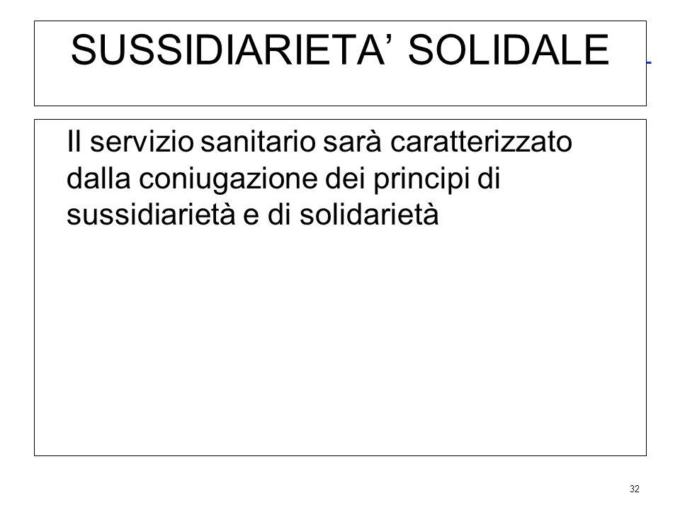 32 SUSSIDIARIETA SOLIDALE Il servizio sanitario sarà caratterizzato dalla coniugazione dei principi di sussidiarietà e di solidarietà