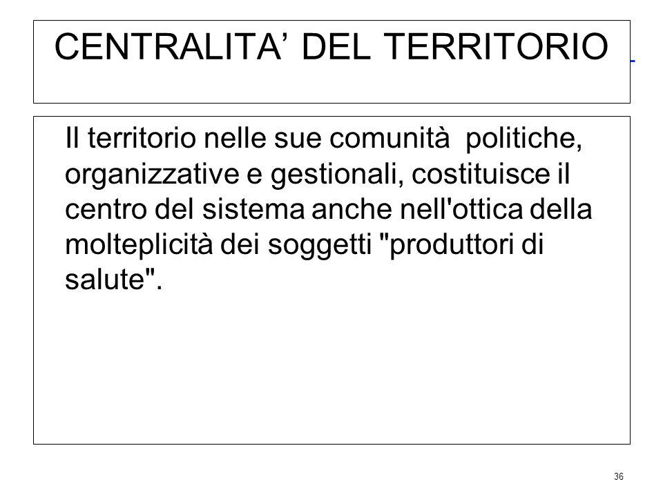 36 CENTRALITA DEL TERRITORIO Il territorio nelle sue comunità politiche, organizzative e gestionali, costituisce il centro del sistema anche nell'otti