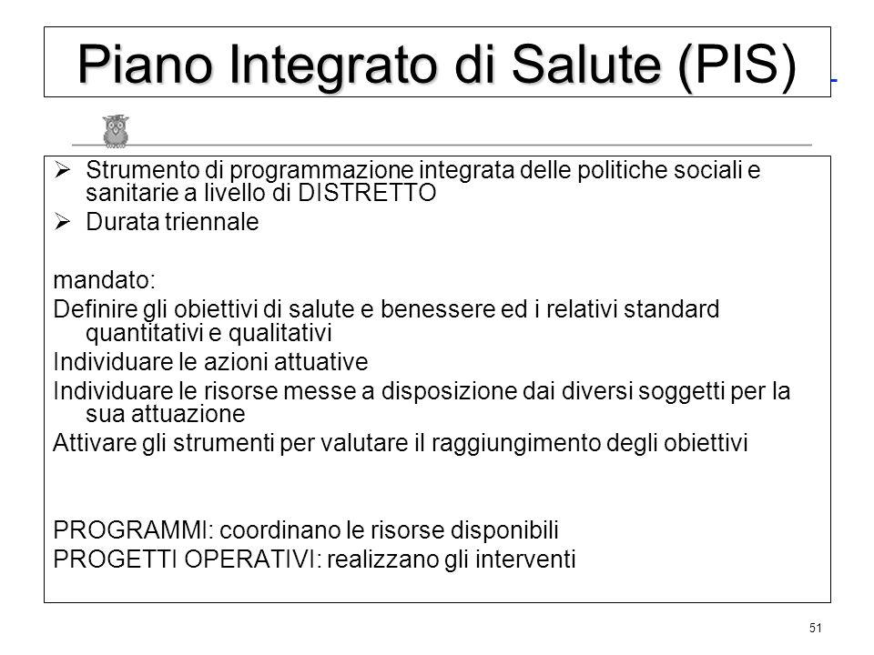 51 Piano Integrato di Salute ( Piano Integrato di Salute (PIS) Strumento di programmazione integrata delle politiche sociali e sanitarie a livello di