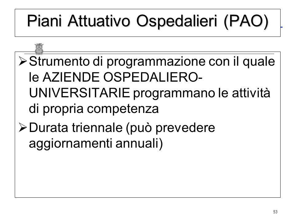 53 Piani Attuativo Ospedalieri (PAO) Strumento di programmazione con il quale le AZIENDE OSPEDALIERO- UNIVERSITARIE programmano le attività di propria