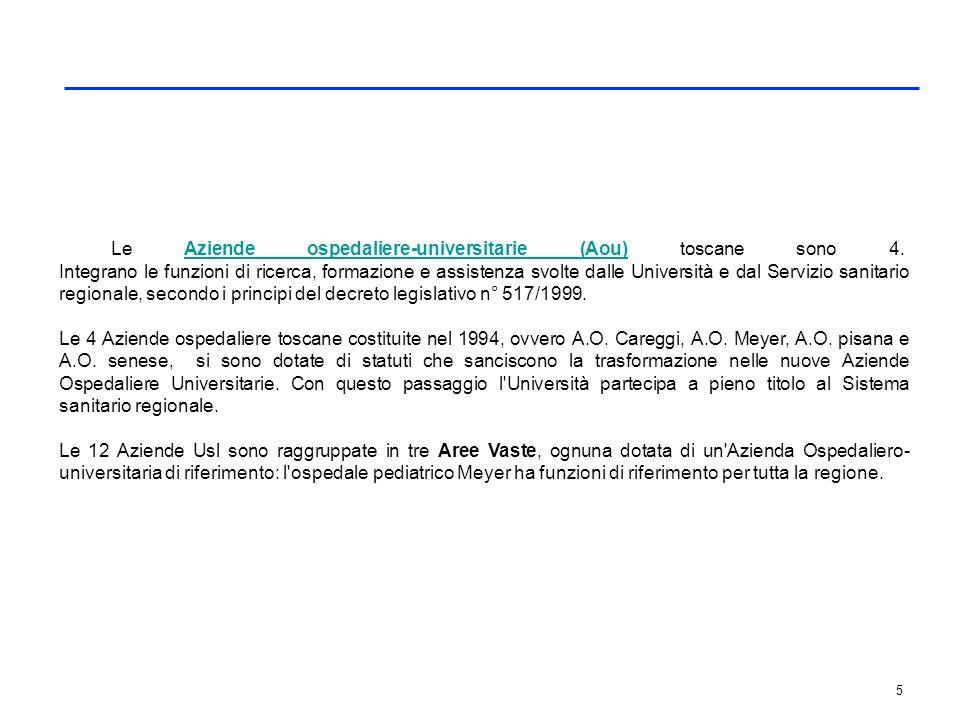 5 Le Aziende ospedaliere-universitarie (Aou) toscane sono 4. Integrano le funzioni di ricerca, formazione e assistenza svolte dalle Università e dal S