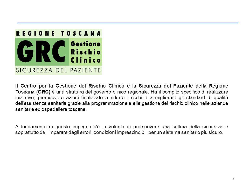 7 Il Centro per la Gestione del Rischio Clinico e la Sicurezza del Paziente della Regione Toscana (GRC) è una struttura del governo clinico regionale.