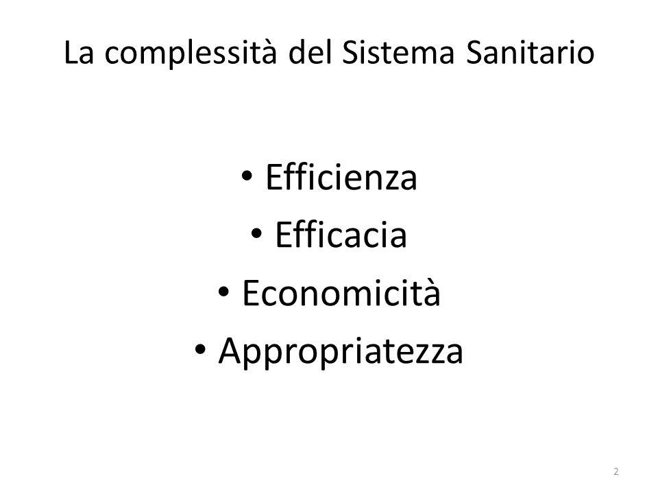 La complessità del Sistema Sanitario Efficienza Efficacia Economicità Appropriatezza 2
