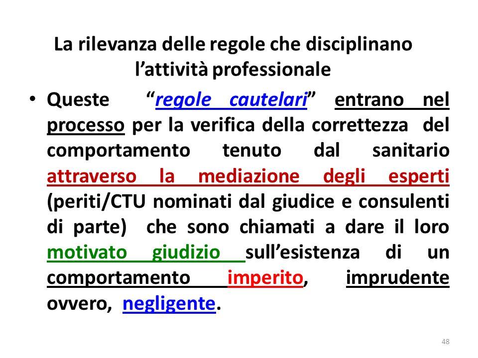 La rilevanza delle regole che disciplinano lattività professionale È evidente, peraltro, che il reale valore di questi documenti dipende da una serie