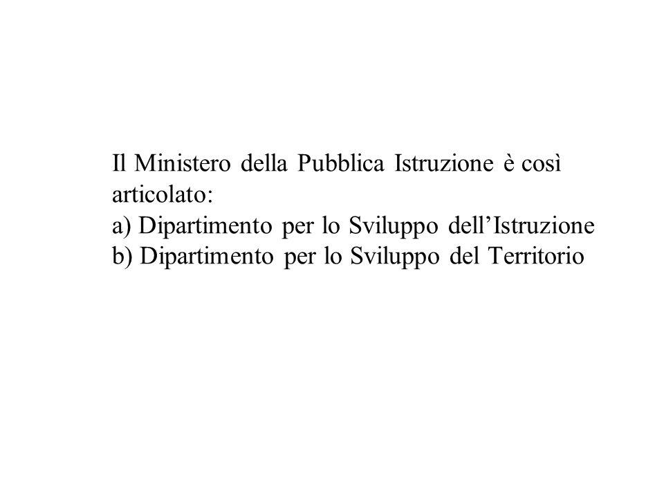 Il Ministero della Pubblica Istruzione è così articolato: a) Dipartimento per lo Sviluppo dellIstruzione b) Dipartimento per lo Sviluppo del Territori