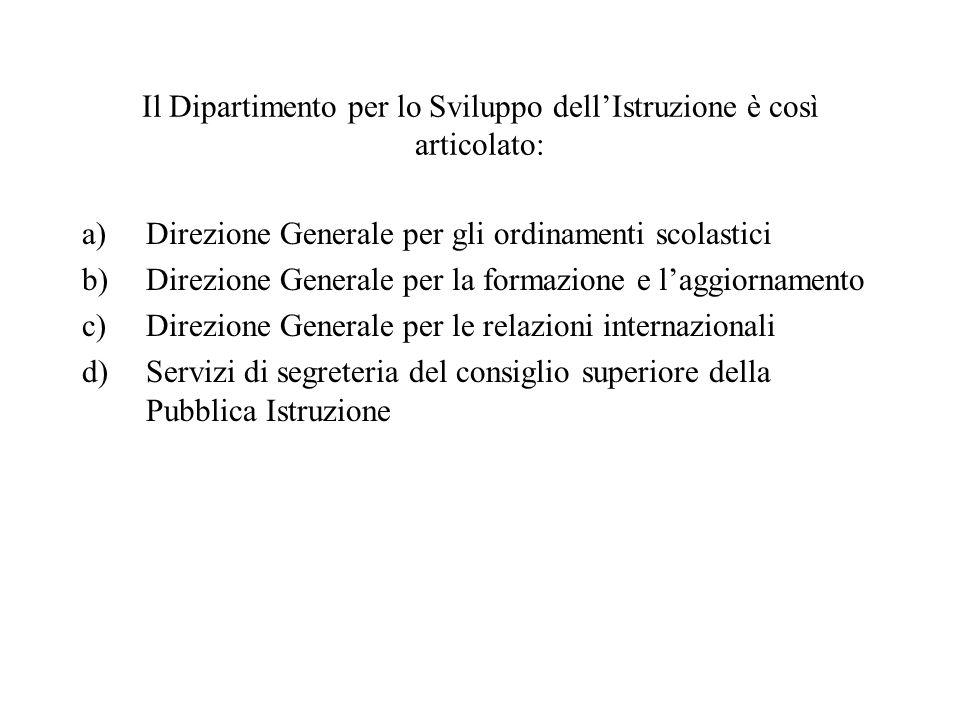 Il Dipartimento per lo Sviluppo dellIstruzione è così articolato: a)Direzione Generale per gli ordinamenti scolastici b)Direzione Generale per la form