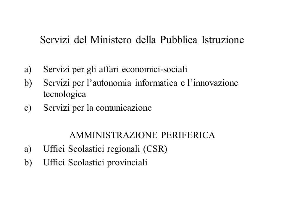 Servizi del Ministero della Pubblica Istruzione a)Servizi per gli affari economici-sociali b)Servizi per lautonomia informatica e linnovazione tecnolo