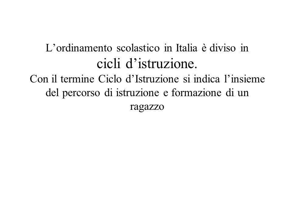 Lordinamento scolastico in Italia è diviso in cicli distruzione. Con il termine Ciclo dIstruzione si indica linsieme del percorso di istruzione e form