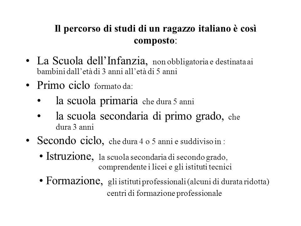 Il percorso di studi di un ragazzo italiano è così composto: La Scuola dellInfanzia, non obbligatoria e destinata ai bambini dalletà di 3 anni alletà