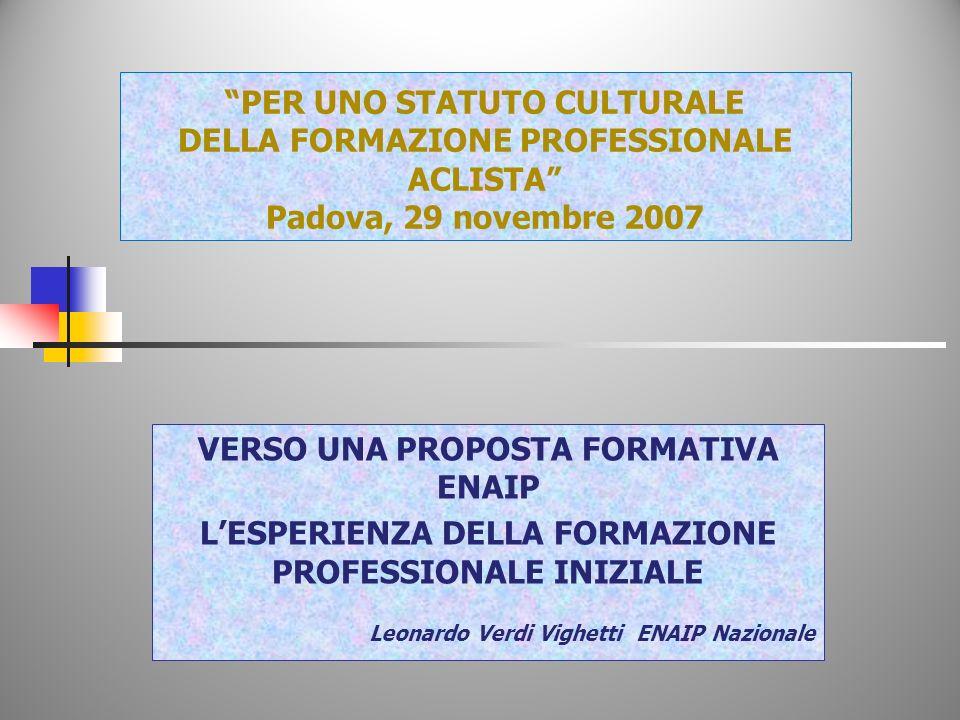 PER UNO STATUTO CULTURALE DELLA FORMAZIONE PROFESSIONALE ACLISTA Padova, 29 novembre 2007 VERSO UNA PROPOSTA FORMATIVA ENAIP LESPERIENZA DELLA FORMAZIONE PROFESSIONALE INIZIALE Leonardo Verdi Vighetti ENAIP Nazionale