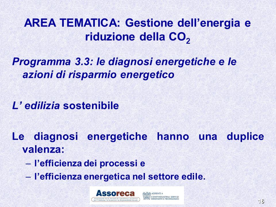 16 Programma 3.3: le diagnosi energetiche e le azioni di risparmio energetico L edilizia sostenibile Le diagnosi energetiche hanno una duplice valenza