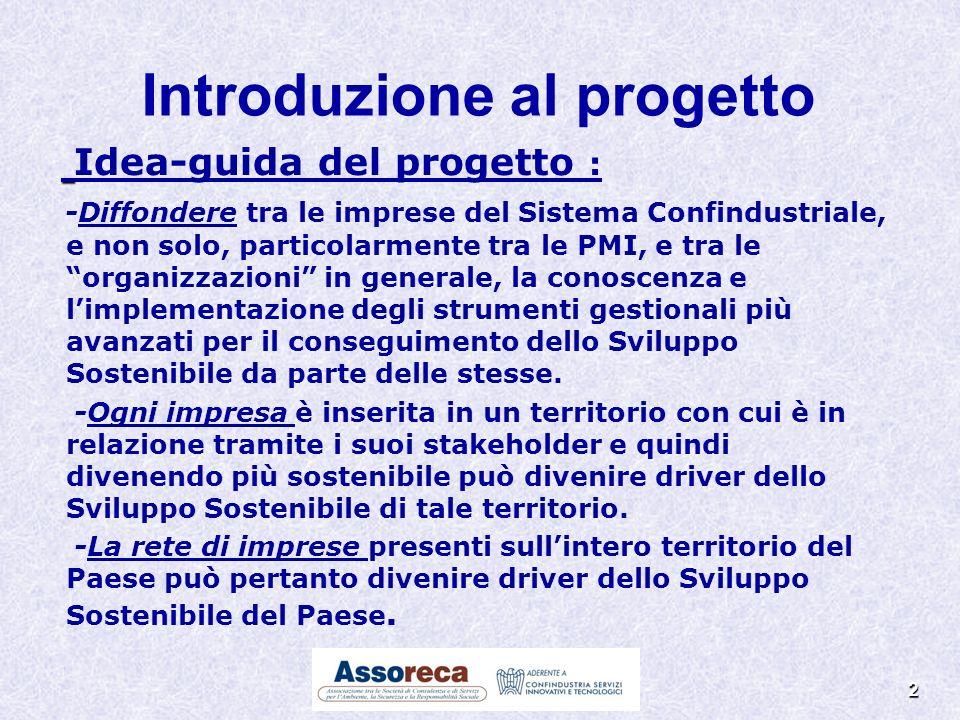2 Introduzione al progetto Idea-guida del progetto : -Diffondere tra le imprese del Sistema Confindustriale, e non solo, particolarmente tra le PMI, e